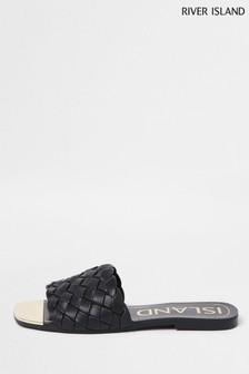 River Island Black Woven Vamp Flat Sandals