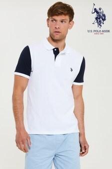 U.S. Polo Assn. White Contrast Sleeve Polo