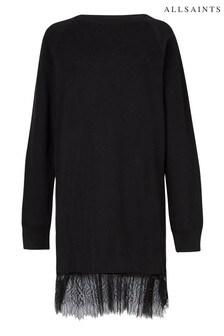 AllSaints Black Lee Jersey Lace Dress