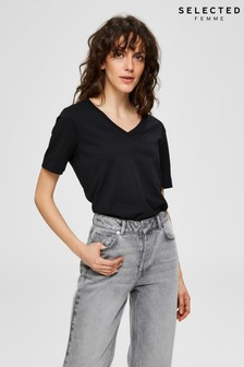 Selected Femme Sustainable Organic Cotton V-Neck T-Shirt
