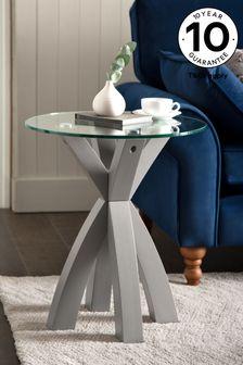 Oak And Glass Side Table / Bedside