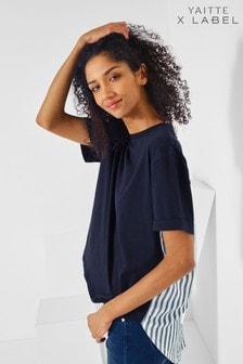 Yaitte x Label Stripe Woven Back T-Shirt