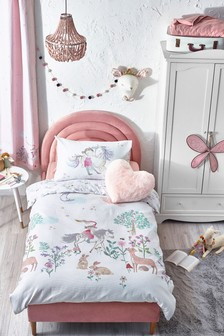 White 100% Cotton Waffle Story Book Woodland Duvet Cover And Pillowcase Set