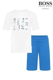 BOSS White And Blue Logo T-Shirt And Shorts Set