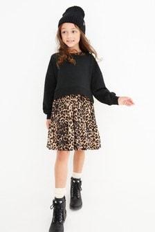 Animal Print Long Sleeve Dress Set (3-12yrs)