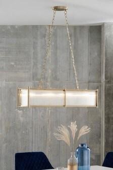 Brass Hertford Linear 4 Light Pendant Ceiling Light
