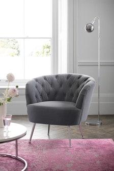 Stella button Accent Chair With Chrome Legs
