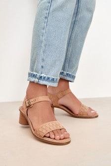 Leather Weave Block Sandals