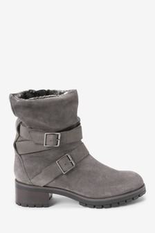 Forever Comfort® Buckle Detail Leather Boots