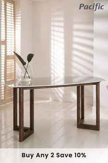 Pacific Lifestyle Cool Brown Acacia Wood Marble Dining Table