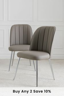 Set of 2 Stella Dining Chairs in Faux Leather