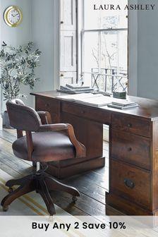 Garrat Dark Chestnut 7 Drawer Desk by Laura Ashley