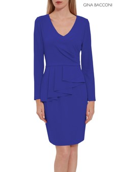 Gina Bacconi Blue Eliane Crepe Peplum Dress