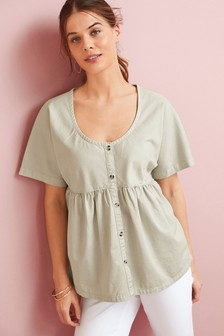 Nursing Button Through Cotton Twill Blouse