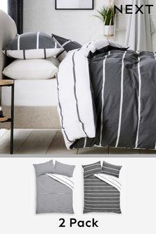 2 Pack Monochrome Reversible Mono Stripe Duvet Cover and Pillowcase Set