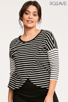 Figleaves Nursing T-Shirt Black And Cream Stripe