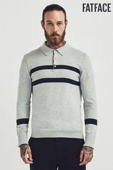 FatFace Grey Folk Knitted Polo