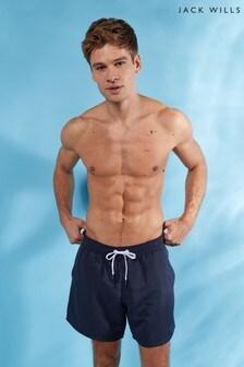 Jack Wills Navy Blakeshall Mid Length Plain Swim Short
