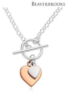 Beaverbrooks Heart T-Bar Necklace