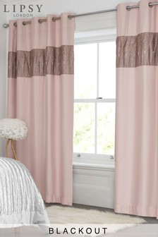 Lipsy Sequin Panel Blackout Eyelet Curtains