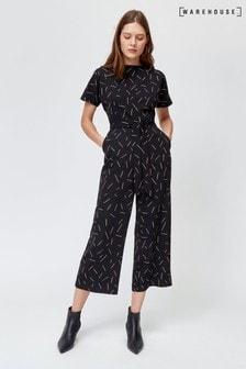 Warehouse Black Line Print Culotte Jumpsuit