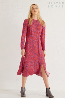Oliver Bonas Red Animal Midi Dress