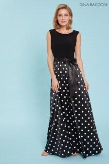 Gina Bacconi Black Ilythia Satin Spot Maxi Dress