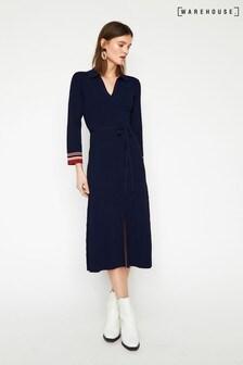 Warehouse Blue Rib Collar Midi Dress