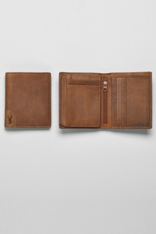 Leather Stag Detail Extra Capacity Wallet