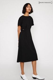 Warehouse Black Button Side Tab Dress