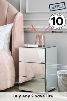 Sloane Mirrored 3 Drawer Bedside Table