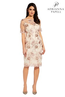 Adrianna Papell Nude Short Embroidered Dress