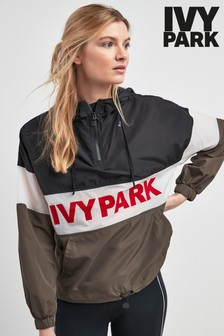Ivy Park Black Flocked Active Logo Jacket