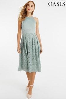 Oasis Green Satin Bodice Lace Midi Dress