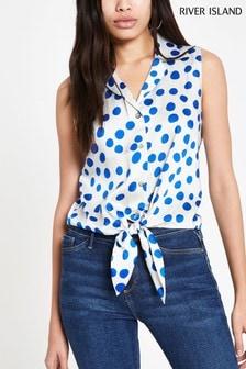 River Island Blue Spot Shirt
