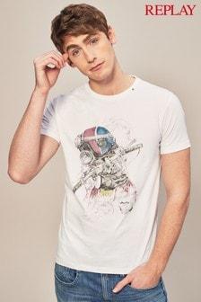 Replay® White Biker Graphic T-Shirt