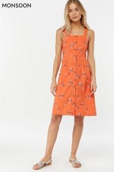 Monsoon Ladies Orange Tamara Gold Foil Palm Dress
