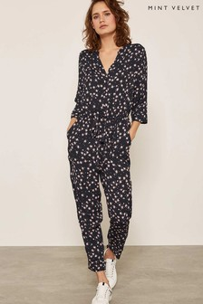 Mint Velvet Black Star Print Jumpsuit