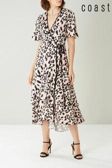 Coast Pink Mila Animal Wrap Dress