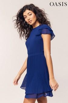 Oasis Blue Chiffon Pleated Skater Dress