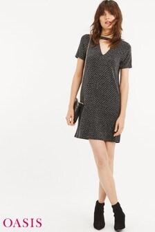 Oasis Black Glitter Choker Dress
