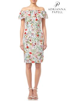 Adrianna Papell Ivory Multi Bloom Pritned Off Shoulder Dress