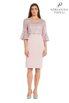 Adrianna Papell Pink Embroidered Short Dress
