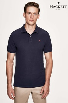 Hackett Blue Slim Fit Logo Short Sleeve Polo