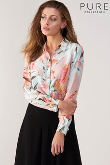 Pure Collection Green Relaxed Washed Silk Blouse