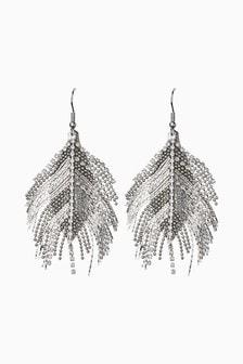 Jewelled Feather Effect Earrings