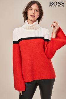 BOSS Red/White Colourblock Funnel Neck Knit