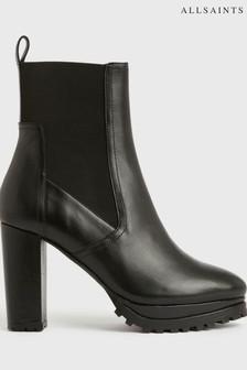 AllSaints Black Sahara Cow Leather Ankle Boots