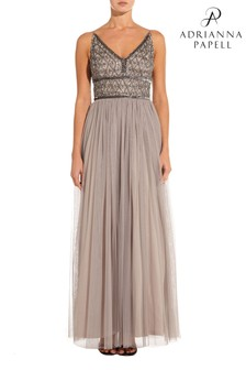 Adrianna Papell Grey Beaded Bodice Dress