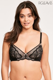 Figleaves Juliette Lace Flexi Wire Nursing Bra Black